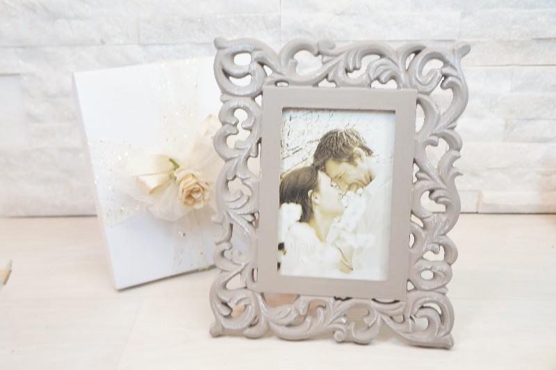 Bomboniere Cornici Matrimonio.Cornici E Orologi Legno Fiocco Portafoto Traforato 10x15
