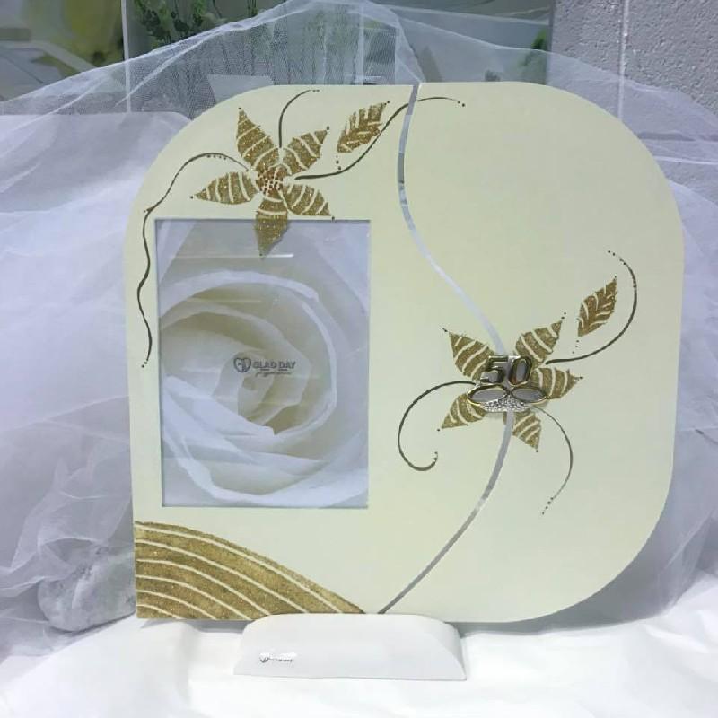 Anniversario porta foto vetro placca 50 anni oro argento - Giornale porta portese annunci regali ...